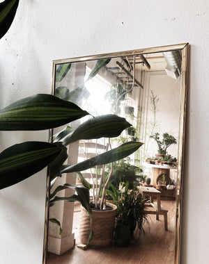Vintage Full Length Brass Mirror