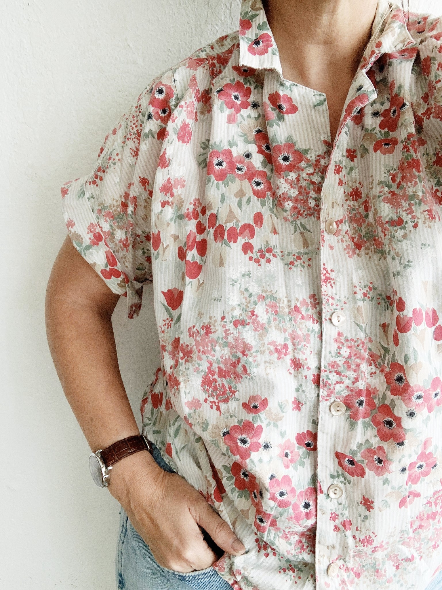 Vintage Floral Cotton Button Up
