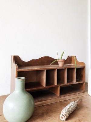 Vintage Wood Apothecary Shelf and Bottles
