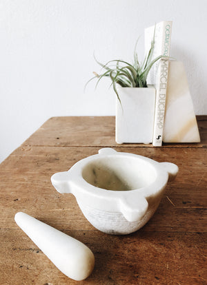 Vintage Marble Crucible Mortar and Pestle