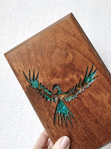 Vintage Handmade Wood Box with Turquoise and Resin Inlay