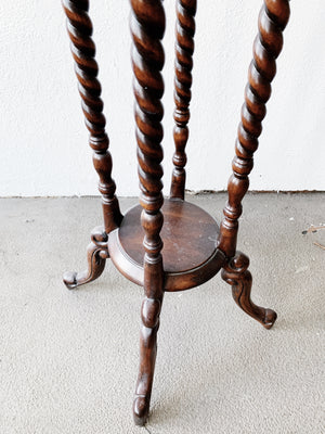 Tall Antique Wood Plant Stand