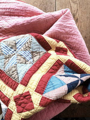 Antique Cotton Star and Diamond Patterned Quilt