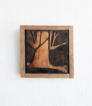 Handmade Vintage Leather Woodblock Art
