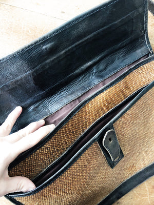 Vintage Leather and Straw Briefcase
