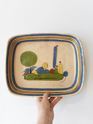 Vintage Hand Painted Clay Dish