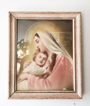 Vintage Framed Madonna and Child Litho