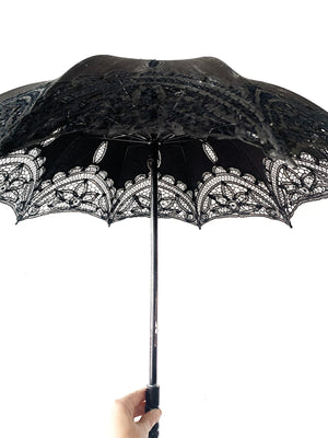 Vintage Black Cotton with Lacey Appliqué Parasol