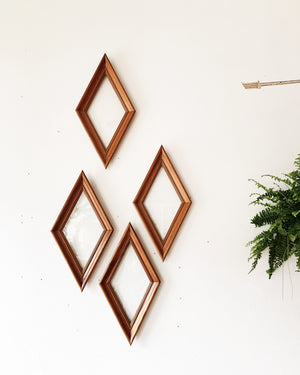 Vintage Diamond Shaped Wood Frames with Glass