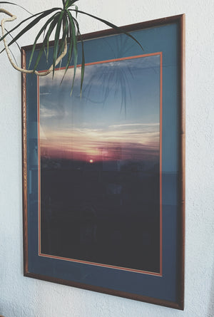 Large Vintage Framed Sunset Photo