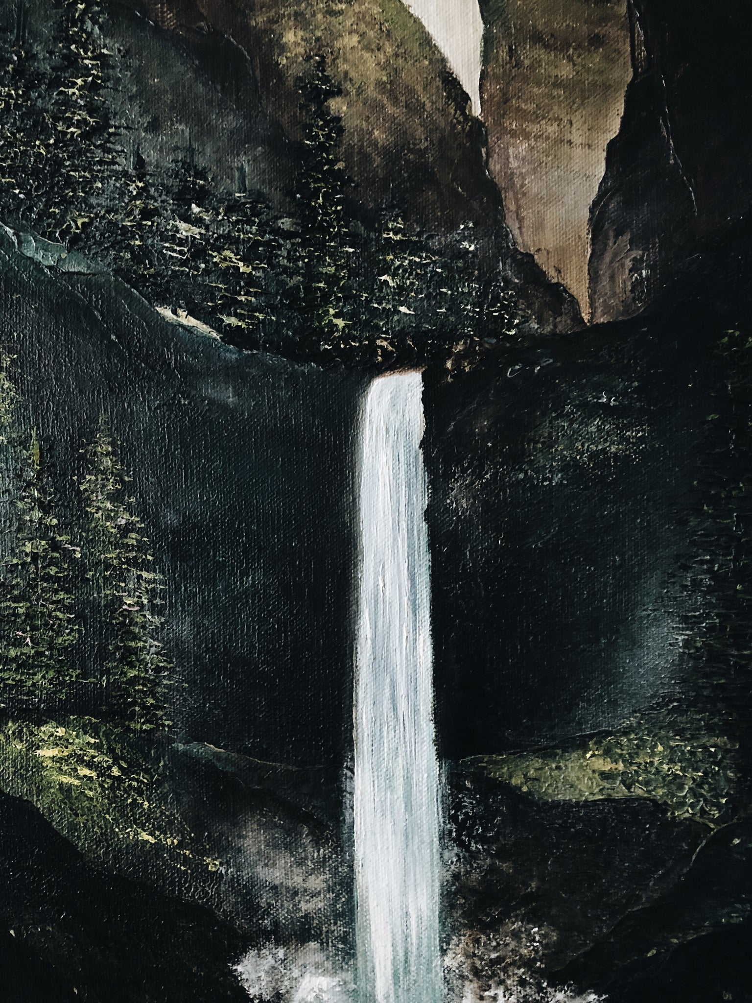 Stunning Waterfall Landscape Painting