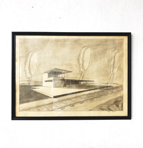 Vintage Original Mid Century Drawing