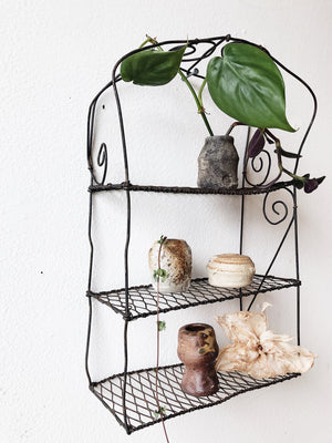 Beautiful Primitive Wire Shelf Rack and Vessels