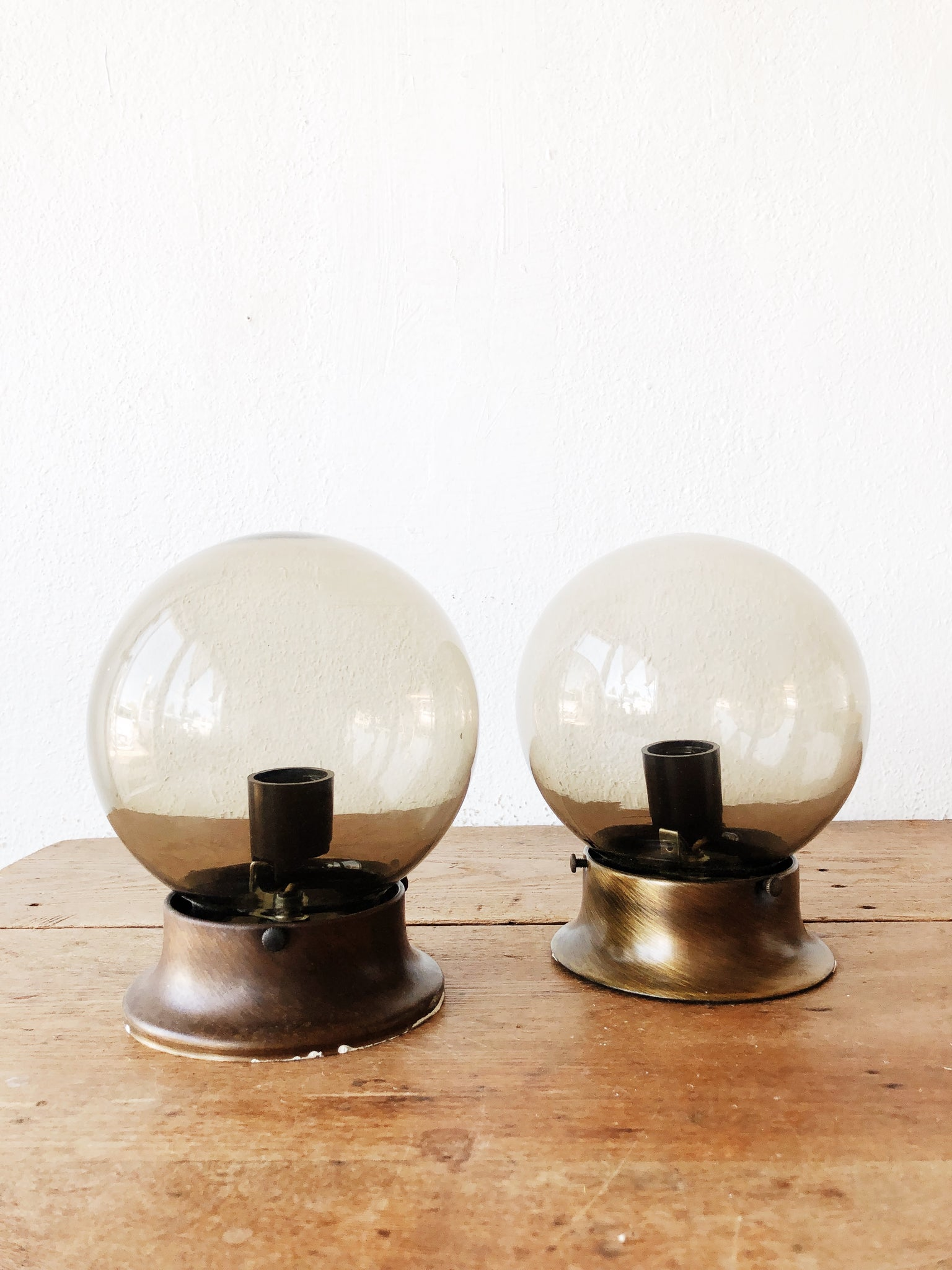 Vintage Smoked Glass Light