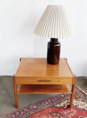 Vintage Ceramic Lamp and Pleated Shade