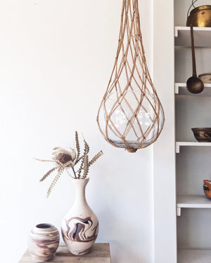 Vintage Modern Macrame with Glass