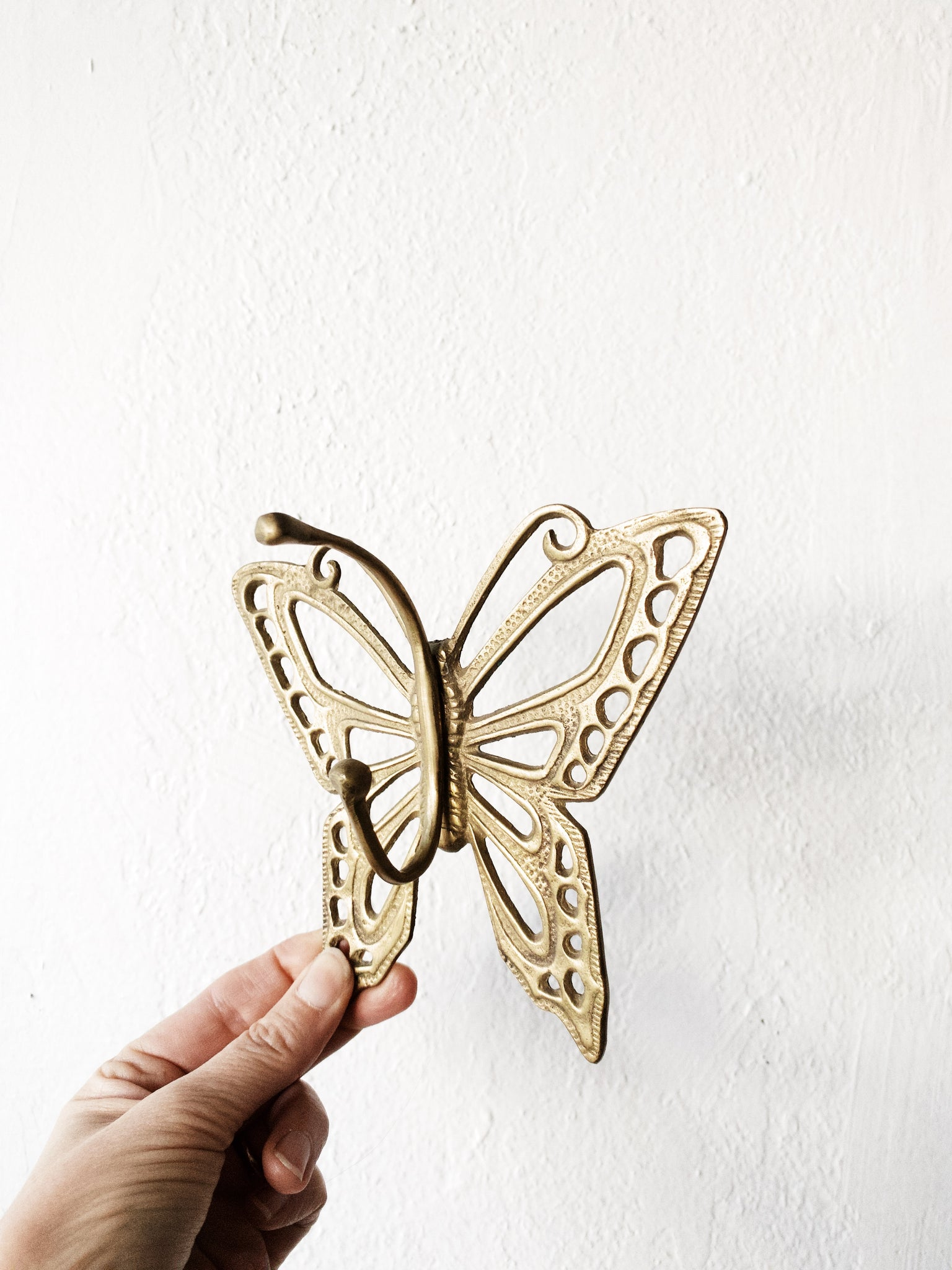 Vintage Gold Tone Metal Butterfly Hook
