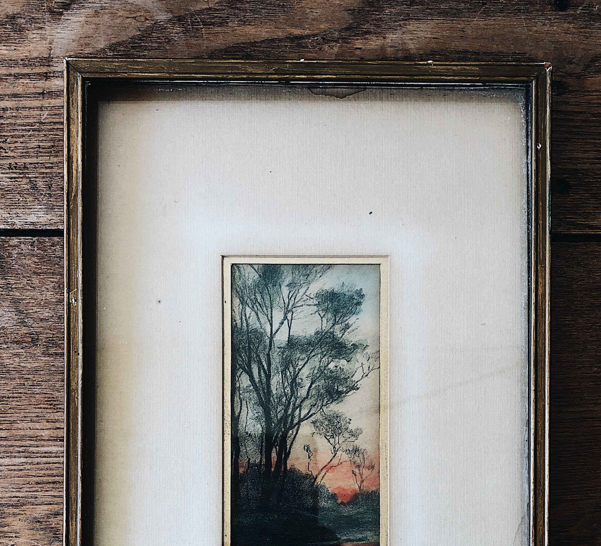 Antique Hand Tinted Sunset Etching