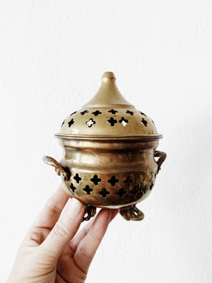 Large Vintage Brass Incense Burner