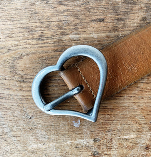 Vintage Leather Belt with Heart Buckle