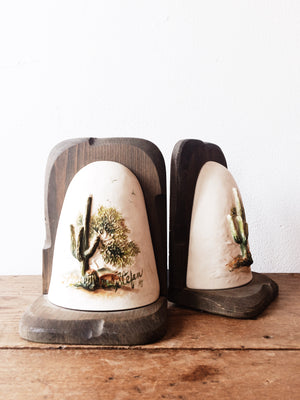Vintage Cactus Bookends