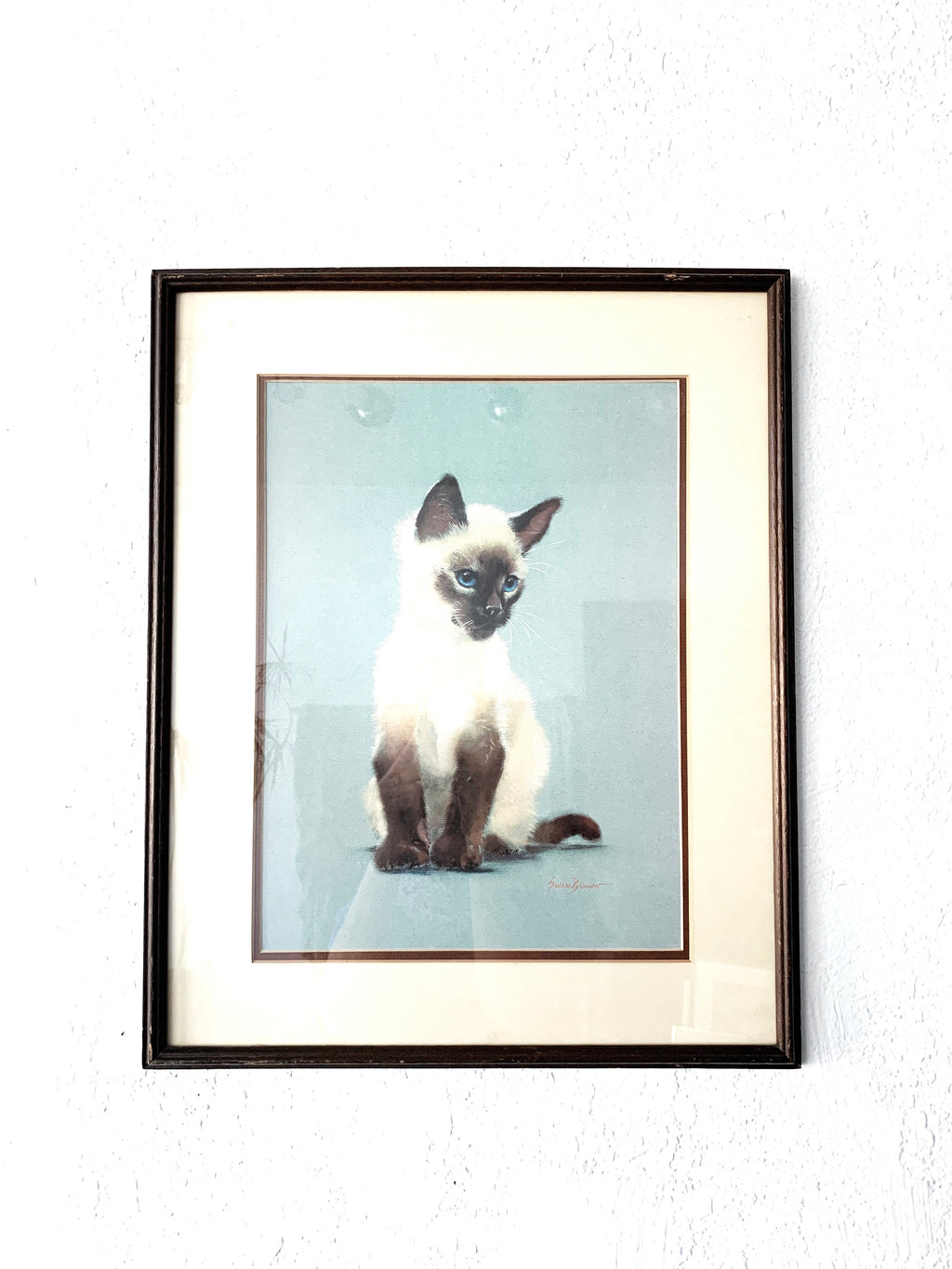 Peter Swan Brown Framed Siamese Art