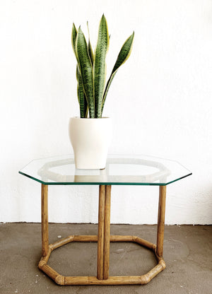 Vintage Bamboo Table w Glass Top