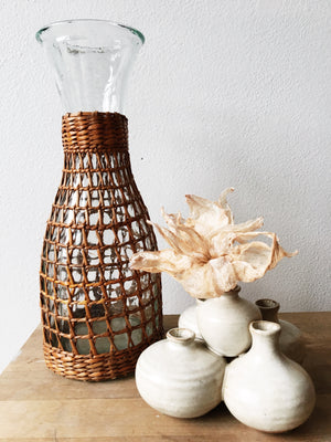 Rattan Wrapped Glass Carafe / Vase