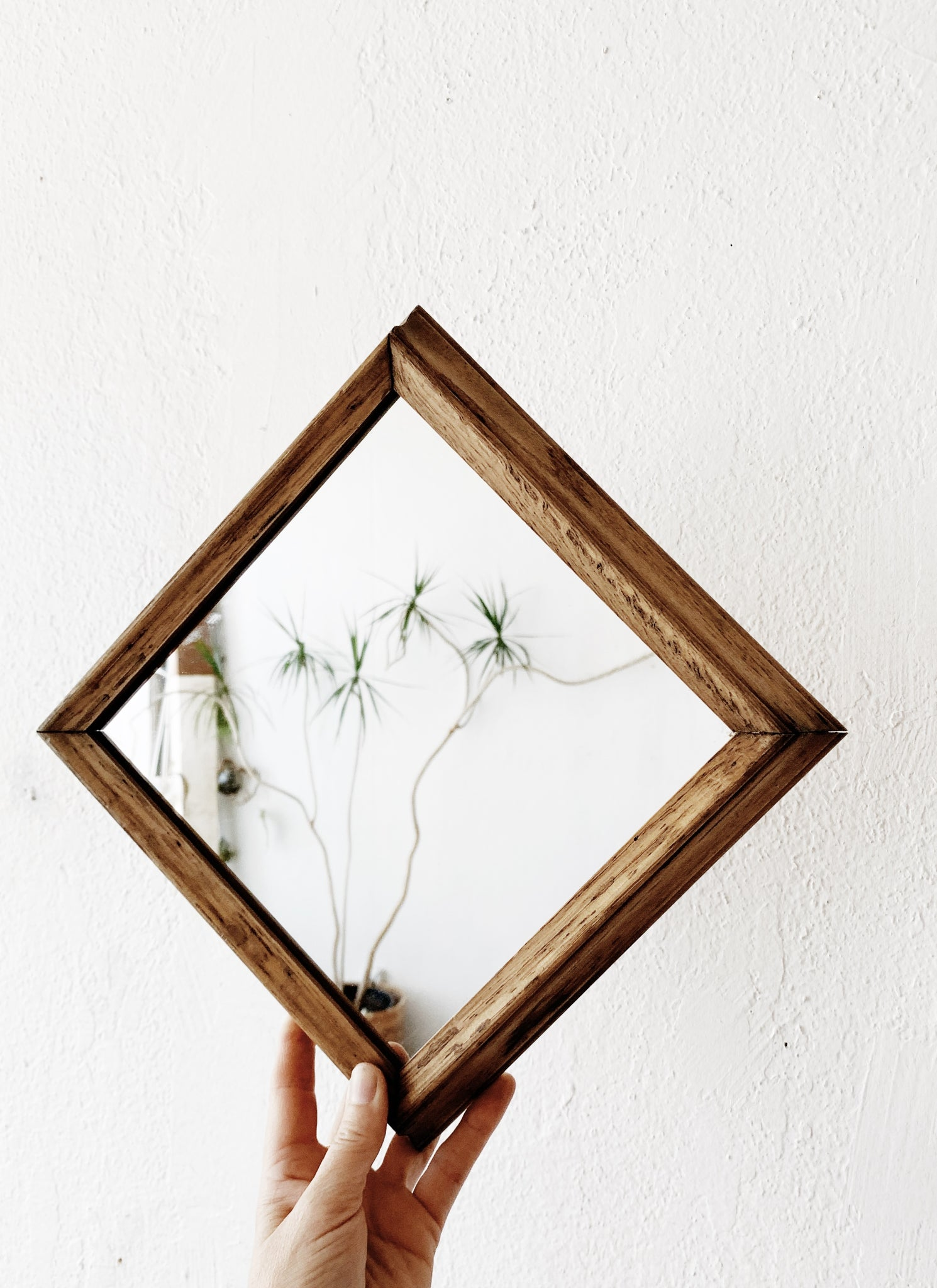 Vintage Natural Wood Framed Mirror