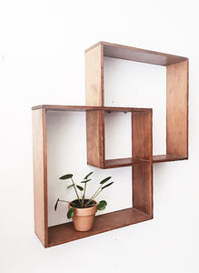 Vintage Wood Cube Shelf