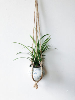 Vintage Pottery and Macrame Hanger