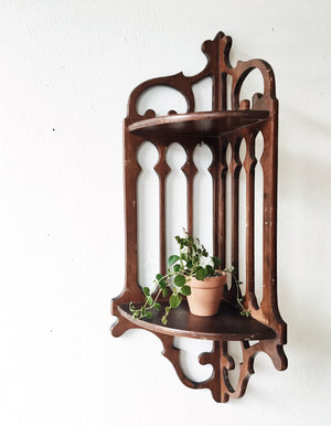 Vintage Ornate Wood Corner Shelf