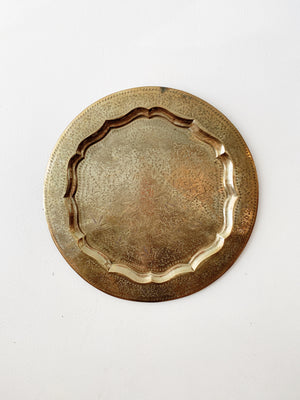 Incised Vintage Brass Tray with Hanger