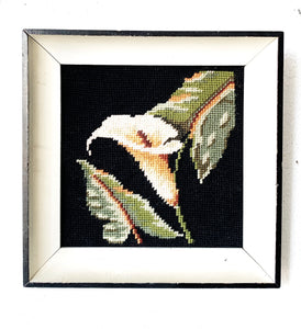 Vintage Framed Calla Lily Needlepoint
