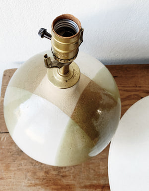 Large Vintage Pottery Lamp and Shade