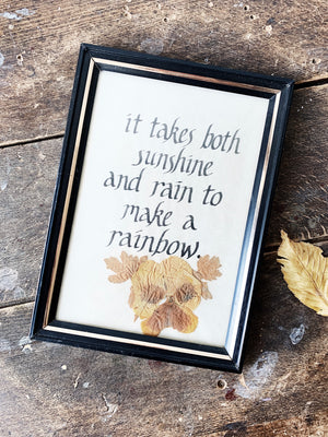 Vintage Framed Calligraphy with Dried Flower