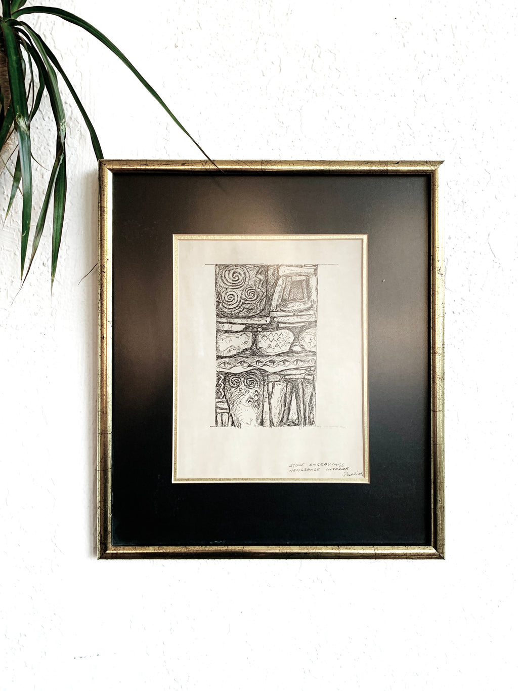 Vintage Framed Pen and Ink Drawing