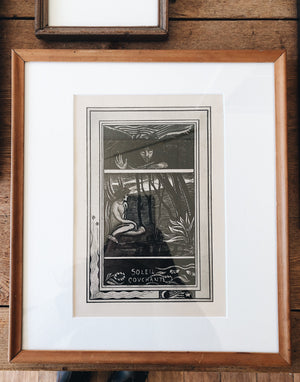 Antique Framed French Bookplate