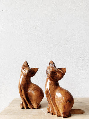 Vintage Carved Wood Cats