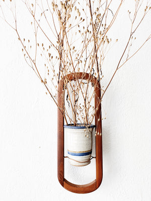 Teak Plant Hanger with Copper and Ceramic