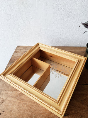 Vintage Etched Mirrored Shadow Box Shelf
