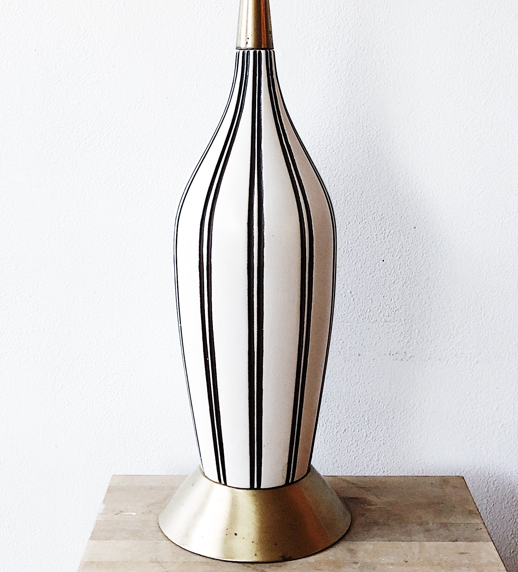 Vintage Mid Century Striped Ceramic Lamp
