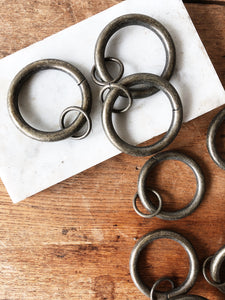Vintage Set 10 Solid Brass Curtain Rings