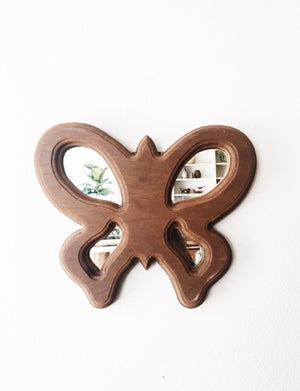 Vintage Wood Butterfly Mirror