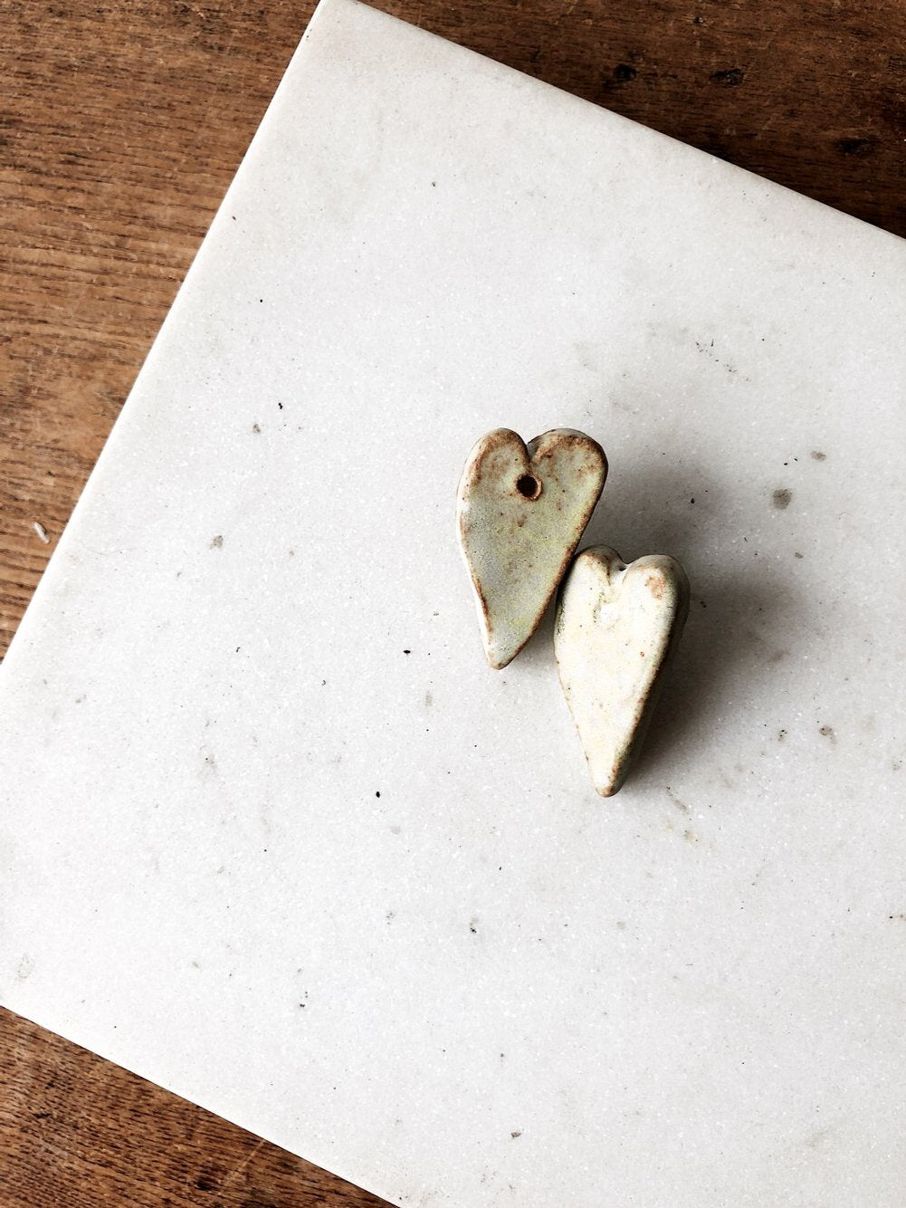 Vintage Ceramic Heart Earrings