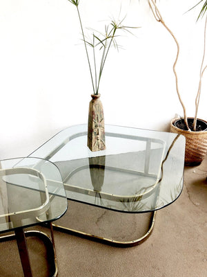 Vintage Brass and Glass Table