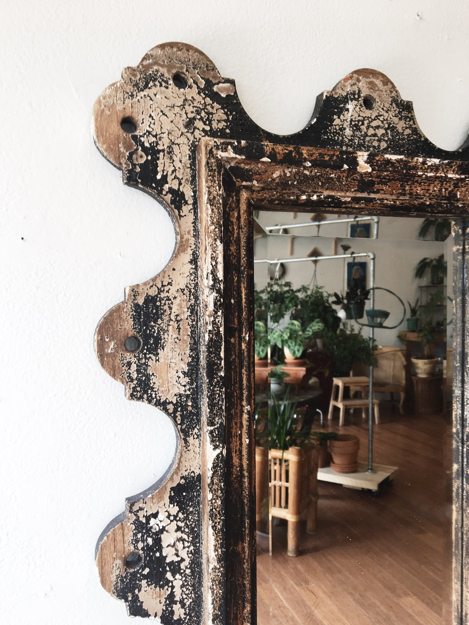 Large Distressed Wood Folk Mirror
