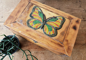 Vintage Handmade Wood Butterfly Chest