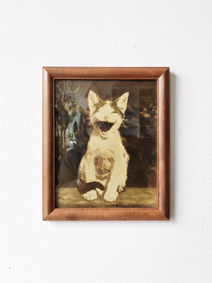 Amazing Vintage Kitten and Moon Litho