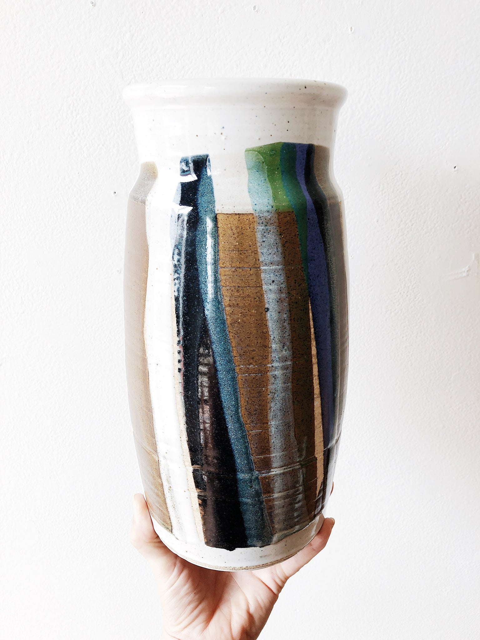 Vintage Multicolored Pottery Vase
